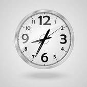 Clock on the gray background — Vector de stock