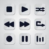Botones multimedia — Vector de stock