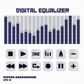 Digital equalizer with multimedia buttons. — Stock Vector