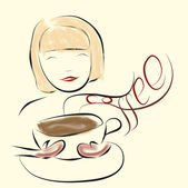 Girl enjoy smell of coffee — Stock Vector
