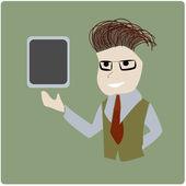 Business man presenting tablet — 图库矢量图片