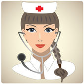 Woman in the form of doctor with stethoscope — Stock Vector