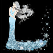 Woman dressed in winter snowflakes — Stock Vector