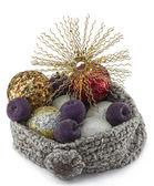 Chapéu com bolas de natal e estrela — Foto Stock