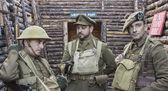 WWI British Army officer and soldiers — Stock Photo