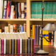 Stock Photo: Boxed books with lamp and shelves