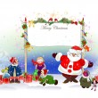 Christmas background with Santa — Stock Vector