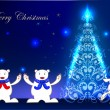 Christmas background with happy polar bears and christmas tree — Stock Vector #36902831