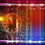 Neon background with clock — Vector de stock