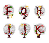 Christmas alphabet and numbers set — Stock Vector