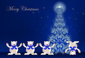 Christmas background with happy polar bears and christmas tree — Vecteur