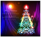 Weihnachtsbaum-Neon-Licht-Hintergrund — Stockvektor