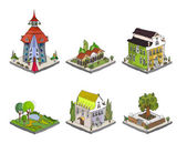 3D city icons set — Stock Vector