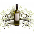 Realistic bottle of wine against of abstract background — Vector de stock