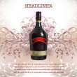 Realistic bottle of wine against of abstract background — Vecteur