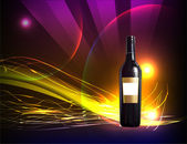 Realistic bottle of wine against of abstract background — Stock Vector