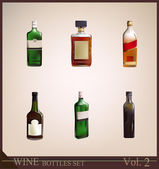 Realistic bottle of wine Wine collection — Stock Vector