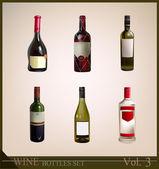 Realistische fles wijn wijn collectie — Stockvector