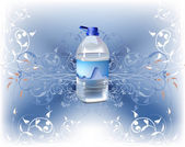 Background with bottle of fresh clean water — Stock Vector