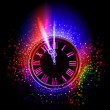 图库矢量图片: Neon clock background