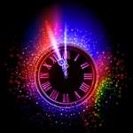 sfondo orologio al neon — Vettoriale Stock