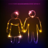 Neon people, family collection — Vecteur