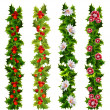 Christmas decorative belts made of holly and flowers — Vector de stock