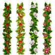 Christmas decorative belts made of holly and flowers — Vecteur
