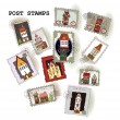 "Post stamp collection ""Houses"" — ストックベクタ"