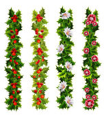 Christmas decorative belts made of holly and flowers — 图库矢量图片