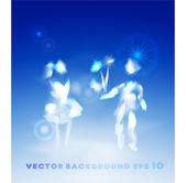 Happy cloud's couple in love — Vector de stock