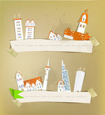 City made of stickers and paper — Stock Vector