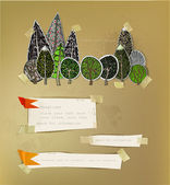 Forest, background made of paper stickers — Wektor stockowy