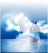 Cloud collection bottle of water — Stock Vector