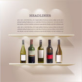 Shelves with light from the top and wine bottles for promotion — Stock Vector