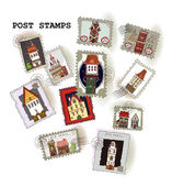 "Post stamp collection ""Houses"" — Stock Vector"
