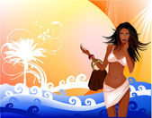 Beach vacation, background with beautiful girl — Stock Vector