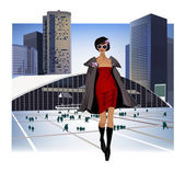 Walking Girl in the city — Stock Vector
