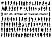 Collection of walking people silhouettes — Stock Vector