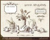 Elementos de design caligráfico tempo da manhã, café da manhã — Vetor de Stock