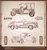 Retro car set, collection travel design elements, hand drawing — Stock Vector