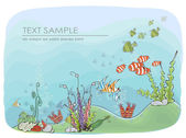 """Under the sea Travel Holiday consept illustration, """"Happy world"""" collection — Stock Vector"""