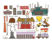 """Design elements, Industrial buildings and transport """"Happy world"""" collection — Stock Vector"""
