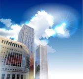 Centro de negócios vetor realista, ilustração de cidade moderna — Vetorial Stock