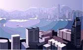 Realistic vector Business center, Modern city illustration — Stock Vector