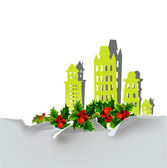 Christmas city background with holly — Stock Vector