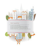 City street background City made of paper stickers collection — Stock Vector