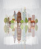 Il pleut ville, fond de papier autocollants — Vecteur