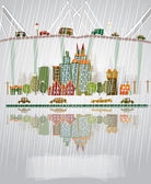 Raining city, paper stickers background — Stockvector