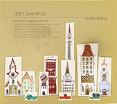 Paper stickers. City background — Vector de stock